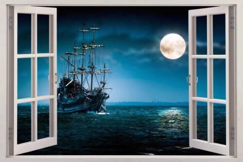 PIRATE SHIP 3D Window View Decal WALL STICKER Home Decor Art Mural Fantasy