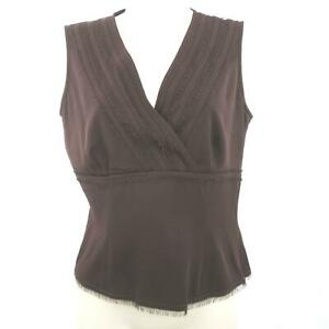 Doncaster-Blouse-Top-Brown-Sleeveless-with-Split-VNeck-Side-Zip-Silk-Size-4
