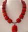 """RARE NEUF CORAIL ROUGE Cylindre Bead Gemstone Collier 18/"""""""