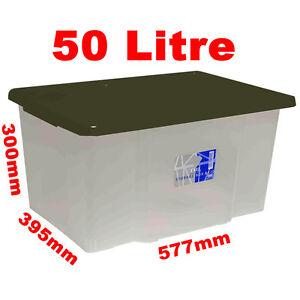 10 x 50L 50 Litre Large Size Plastic Clear Storage Box Boxes Set