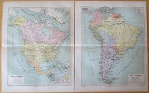Detailed Map North and South America 2 Prints - 1890