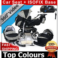 Baby Pram - Pushchair + Car Seat + Isofix Base + Gratis - Top Colours