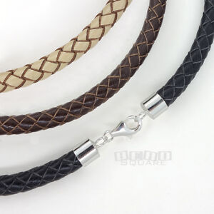 Sterling-Silver-6mm-Braided-Genuine-Leather-Cord-Necklace-Bracelet-Lobster-Clasp