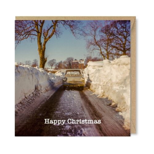 Snow Drifts Nostalgia 1960/'s 1970/'s 1980/'s Unique Vintage Retro Christmas Card