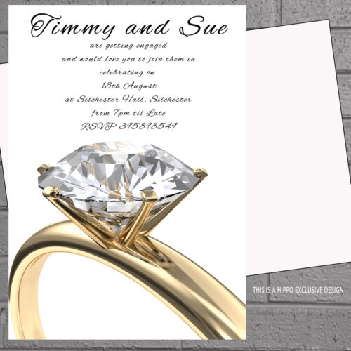 Personalised Engagement Party Invitations gold diamond ring x 12 H1545