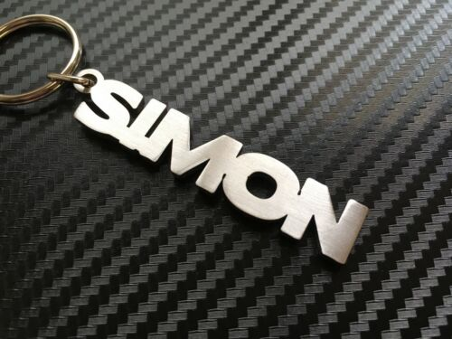 SIMON Personalised Name Keyring Keychain Key Fob Bespoke Stainless Steel Gift