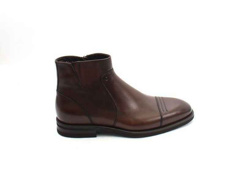 Roberto Serpentini 47707 Brown Stivali Pelle Zip-Up Ankle Stivali Brown 43 / US 10 7f41a8