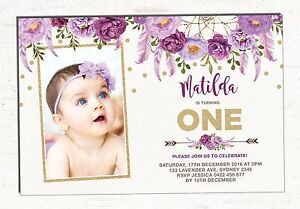 boho first 1st birthday invitation purple gold floral party invite