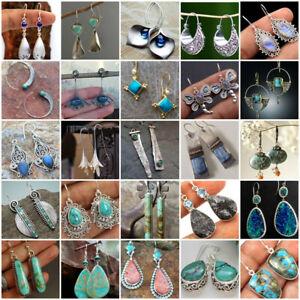 Femmes-925-Argent-Turquoise-Ear-Hook-Stud-Dangle-Drop-Moonstone-Sapphire-Boucles-d-039-oreilles