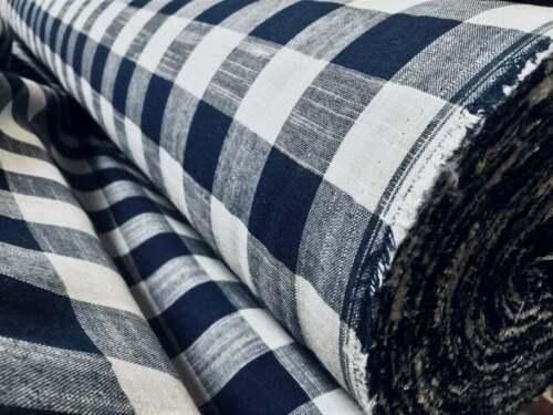 Ropa De Tela De Lino A Cuadros Guinga Cuadros Material 140cm Ancho-Azul Marino y Blanco Cuadrado