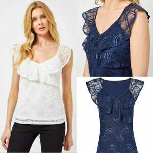 Dorothy-Perkins-Womens-Navy-Blue-or-White-Lace-Ruffle-Frill-V-Neck-Stretch-Top