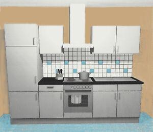 einbauk che aurelia i grau k chenzeile 270 cm k che k chenblock mit e ger te ebay. Black Bedroom Furniture Sets. Home Design Ideas