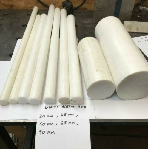 30mm 25mm 65mm DIA Round Bar OFF CUTS JOB LOT 40mm White Acetal 20mm