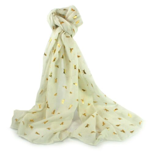 Cream Dog Scarf Gold Foil Dogs Scarves Lab Retriever Scarves Gift Off White New