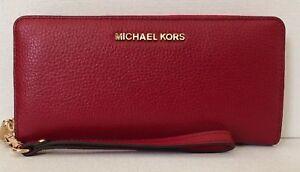 d4df86e6920d New Michael Kors Jet Set Travel Continental wallet Leather Scarlet ...