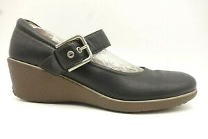 Ecco-Black-Leather-Mary-Jane-Wedge-Shoes-Women-039-s-41-10-10-5