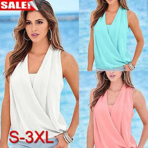 0a82103ec591 Image is loading Women-Summer-Chiffon-Vest-Top-Sleeveless-Blouse-Casual-