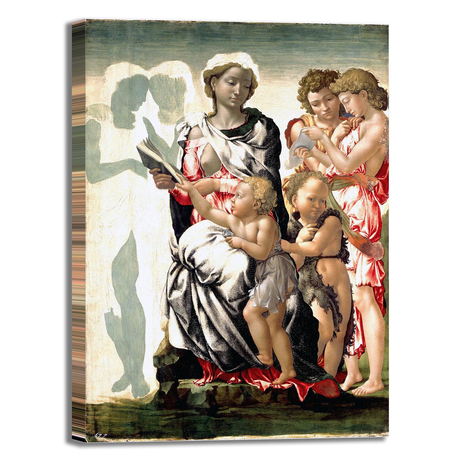 Michelangelo Madonna e  bambino quadro stampa tela dipinto telaio arrossoo casa