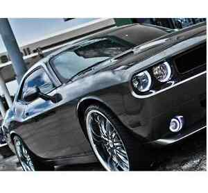 2008 2014 Dodge Challenger White Angel Led Halo Headlights