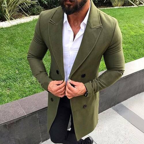 Men/'s Double Breasted Overcoat Winter Warm Jacket Coat Casual Long Outwear Tops