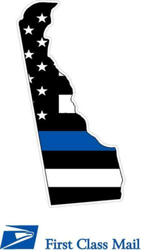 State of DELAWARE White Outline Thin Blue line flag decal REFLECTIVE