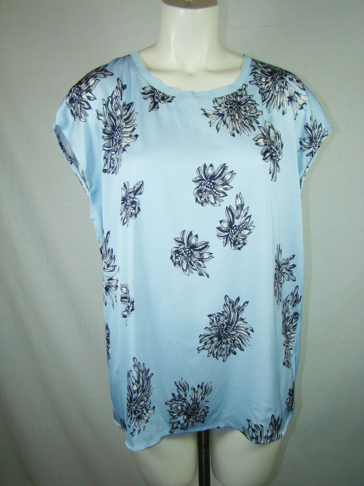 Nordstrom Collection Stretchy Silk Baby Blau schwarz Floral Cap Blouse NWT Large L