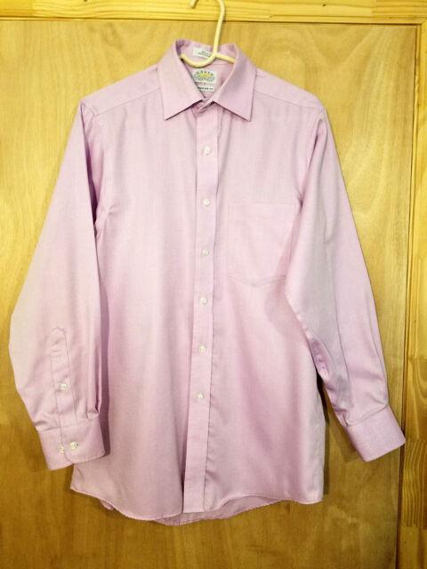 Eagle Shirtmakers Men's Pink Dress Shirt Size 15 32/33 Regular Fit 100% Cotton