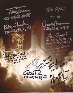 Nasa-Raum-Shuttle-Rundhals-14-Astronauten-Handsigniert-Foto-COA-Uacc