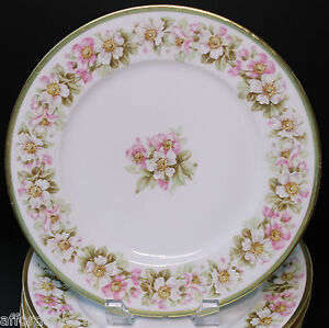 Antique-French-Elite-Limoges-Set-of-6-Dinner-Plates-Plate-White-Pink-Blossoms