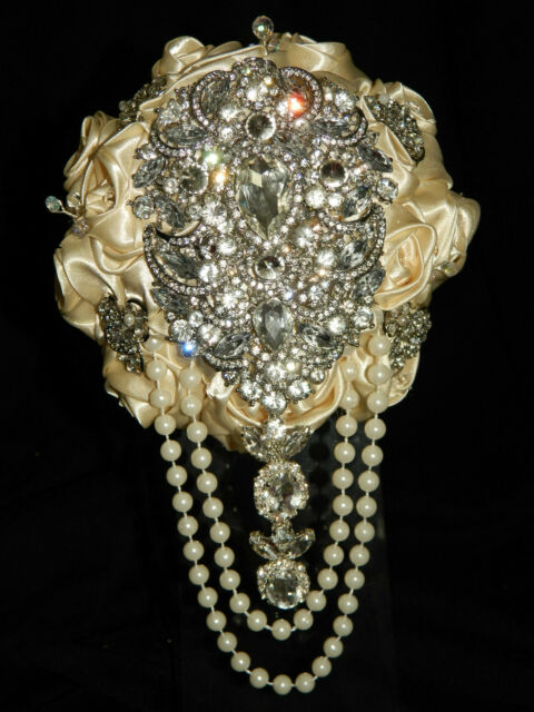 Satin rose & brooch bouquet ' REGENCY VINTAGE '  bridal collection  all colours