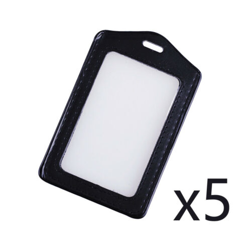 Id Card Case Border Vertical Clear Black Holder Hole Business Lanyard Badge Name