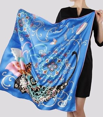 "UPSCALE LARGE SQUARE HEAVY SILK SCARF  35""x 35"" BRONZING TECHNOLOGY"