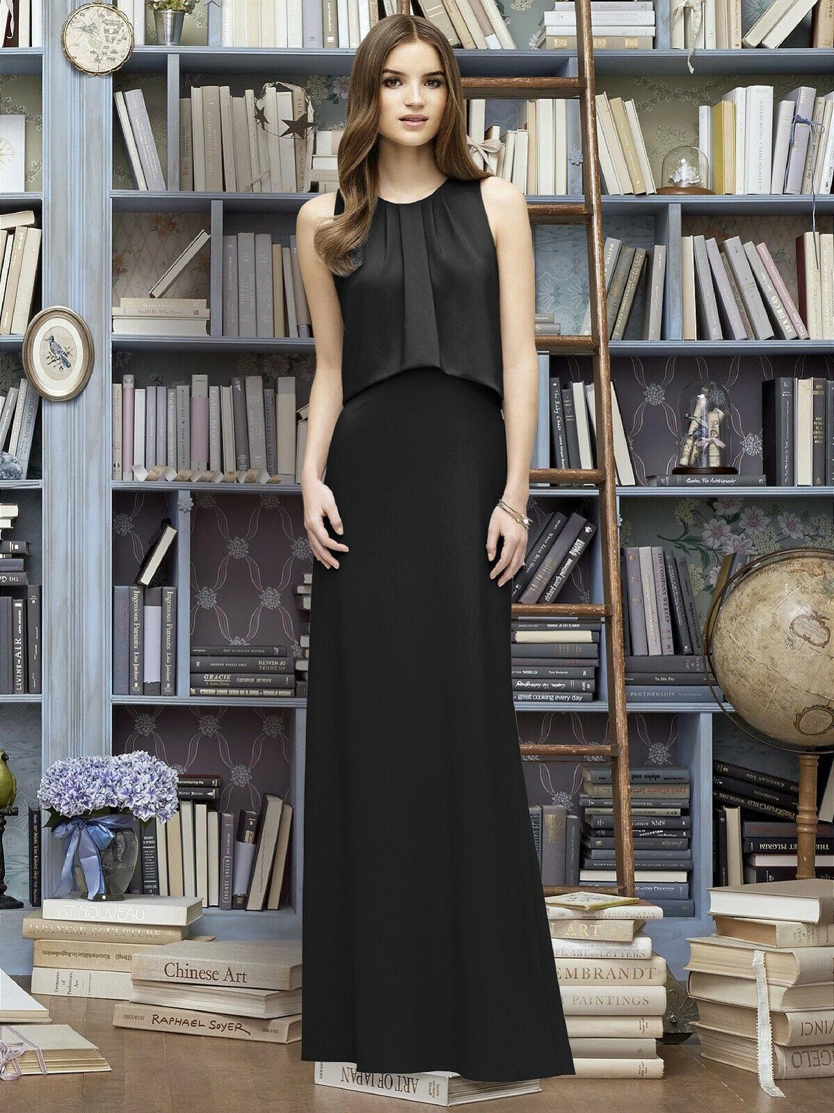 Lela Rose Bridesmaid M 8 Black Formal Evening Gown Crepe trumpet mermaid Dress