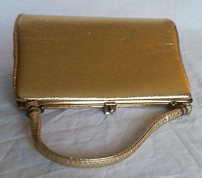 Vintage 1960s Gold Mettalic Satchel Shoulder Bag Clasp