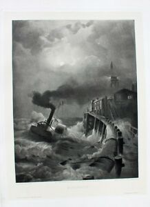 Andreas-Achenbach-Mond-Nacht-Vollmond-Sturm-Leuchtturm-Seegang-Rad-Dampfer-Hafen