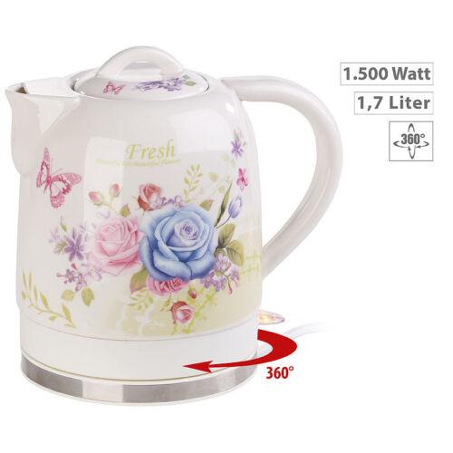 Teekanne Keramik-Wasserkocher mit Blumenmuster 1.500 Watt 1,7 Liter