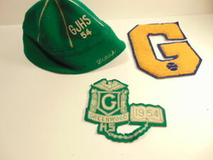 Details about Vintage 1954 Greenwood High School wool hat, class & varsity  jacket letters