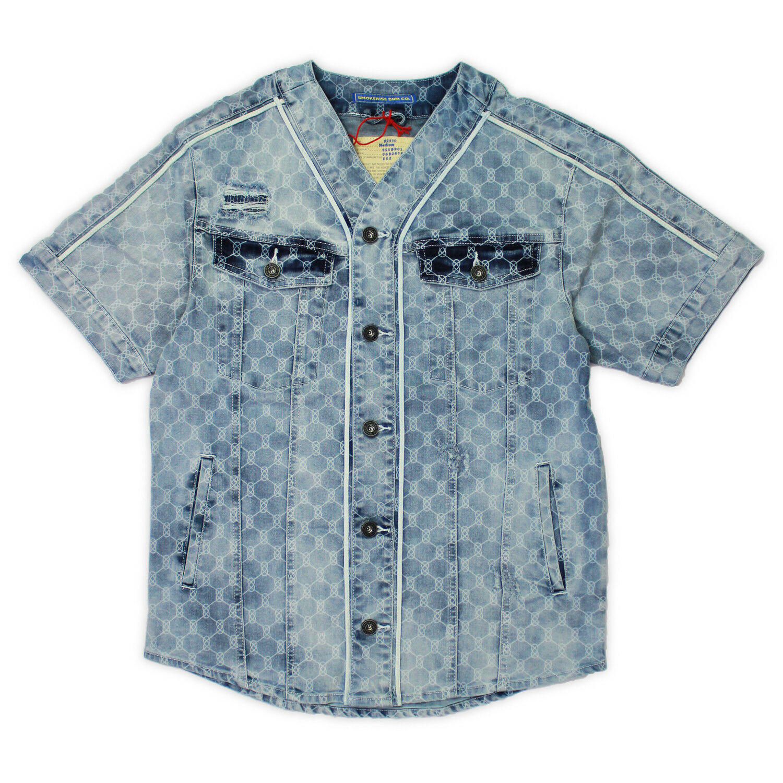 Smoke Rise Mens Printed Denim Baseball Shirt Light bluee