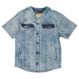 Mens-Smoke-Rise-Allover-Print-Denim-Baseball-Shirt-Light-Blue