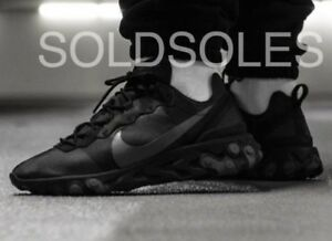 sports shoes 87f60 58d9f Image is loading NIKE-REACT-ELEMENT-55-TRIPLE-BLACK