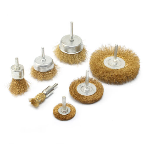 7pc Brass Wire Polishing Brush Wheel /& Cup Set with 1//4/'/' Shank For Rotary Tool
