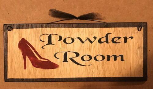 POWDER ROOM plaque Country primitive Bathroom bath decor wood Sign 5x12