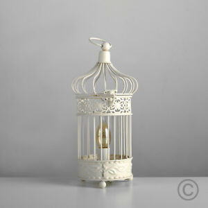 Vintage Style Ivory Cream Ornate Shabby Chic Bird Cage Table Lamp