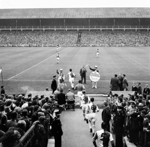 Ronnie-Clayton-Of-Blackburn-Rovers-Leads-The-Team-Out-OLD-FOOTBALL-PHOTO