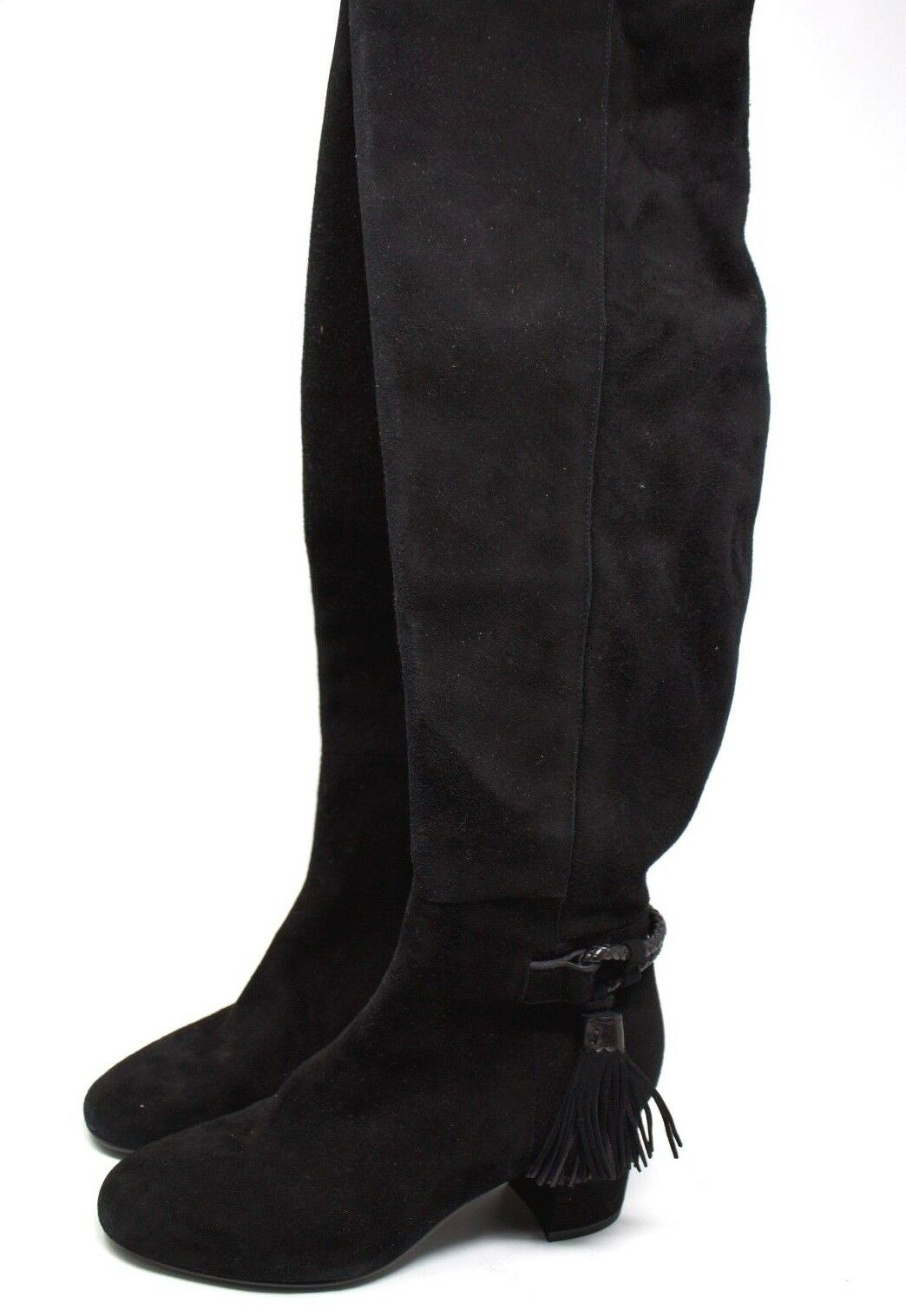 L.K. Bennett  London Black Color Solid  Suede Pompom Tall Boots  Women Size 35