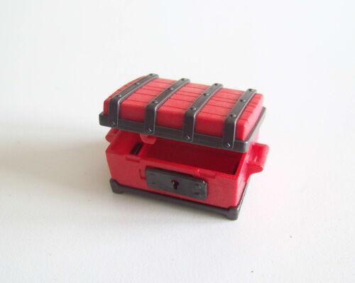 1184 PLAYMOBIL Fermeture en Parfait Etat Coffre Rouge /& Noir