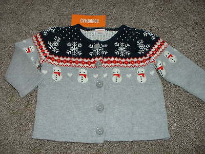 Gymboree Baby Holiday Shop Snowman Gray Cardigan Sweater Size 6-12 months NWT