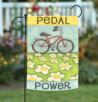 Toland - Pedal Power - Bicycle Conservation Daisy Flower Garden Flag