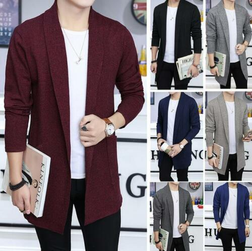 Mens Knitted Cardigan Spring Loose Casual Coat Blazer Jacket Long Sleeve Sweater