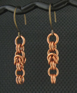 Details about Handmade Mixed Metals Copper Niobium Chainmaille Link  Byzantine Earrings